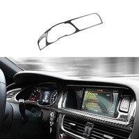 100% Carbon Fiber Center GPS Instrument Frame Cover Trim For Audi A4 B8 13 2016