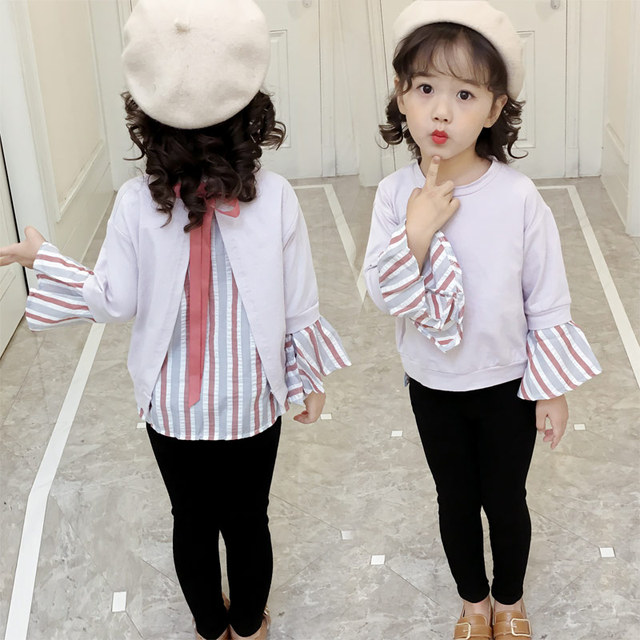 2018 Spring Fall New Style Girls Fashion Shirt Pagoda Sleeve Casual Tops  Children\u0027s Clothes Baby Kids Splicing Loose Shirts A281