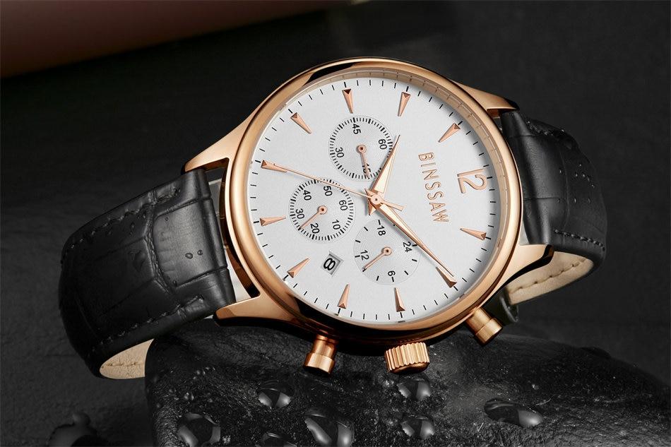 BINSSAW 2017 nieuwe heren kijken luxe merk Fashion Casual 100M leer - Herenhorloges - Foto 6