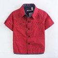 Alta qualidade de Bolinhas Crianças Camisas para Meninos Camisas de Algodão de Moda Camisas Dos Miúdos