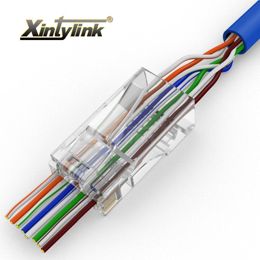 Xintylink EZ rj45 conector enchufe del cable ethernet cat5 cat5e cat6 terminales red 8p8c modulares apantallados utp macho 50 piezas 100 piezas
