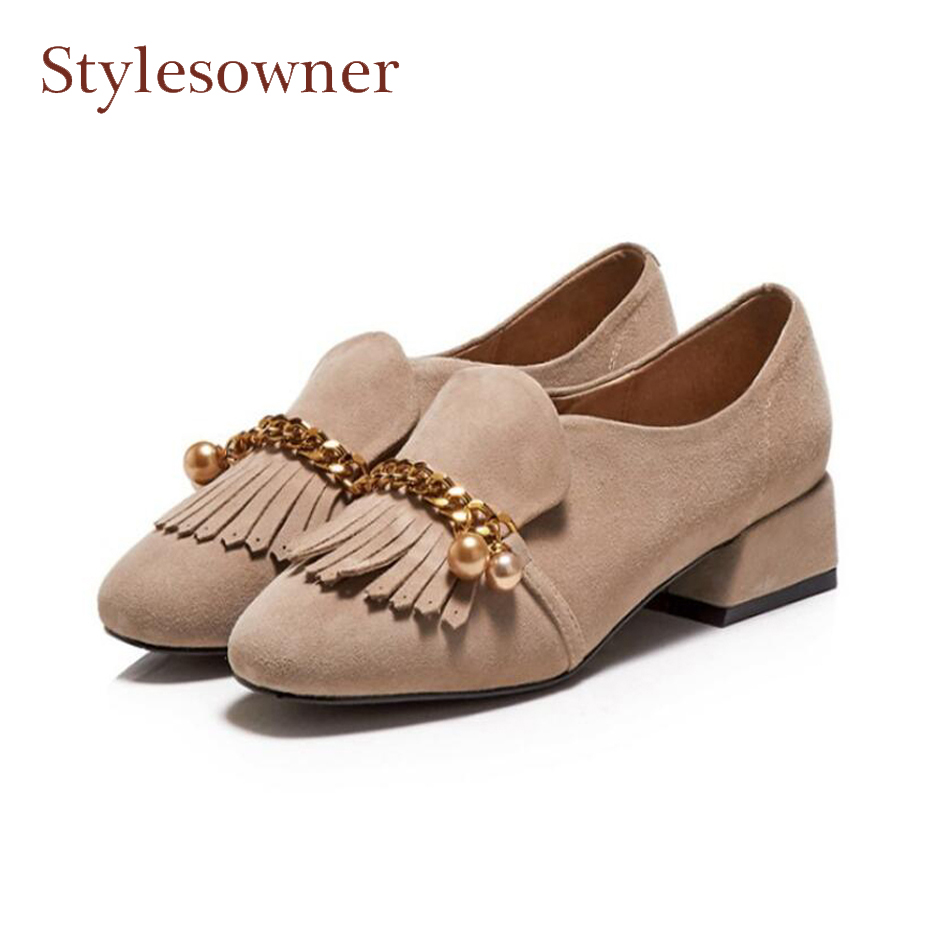 Stylesowner 2018 newest tassel shoes women pumps metal chain round toe low heel women shoes leisure style fringe slip on shoes 2017 shoes women med heels tassel slip on women pumps solid round toe high quality loafers preppy style lady casual shoes 17
