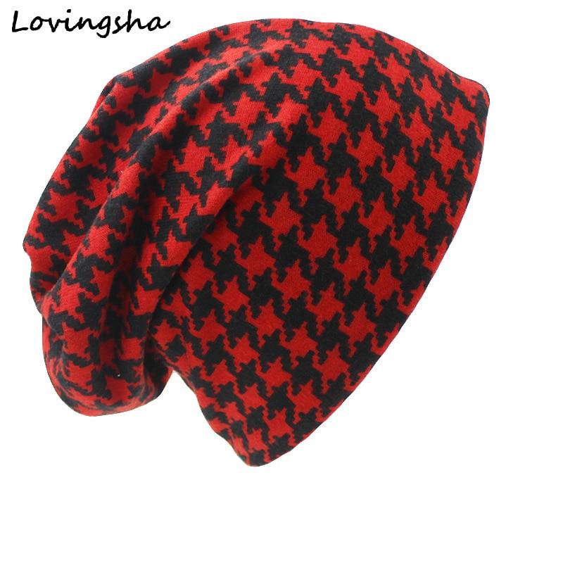 LOVINGSHA Brand Autumn Winter Dual-use Hat For Ladies Thin Skullies Beanies Vintage Geometric Design Women Scarf Face Mask HT028