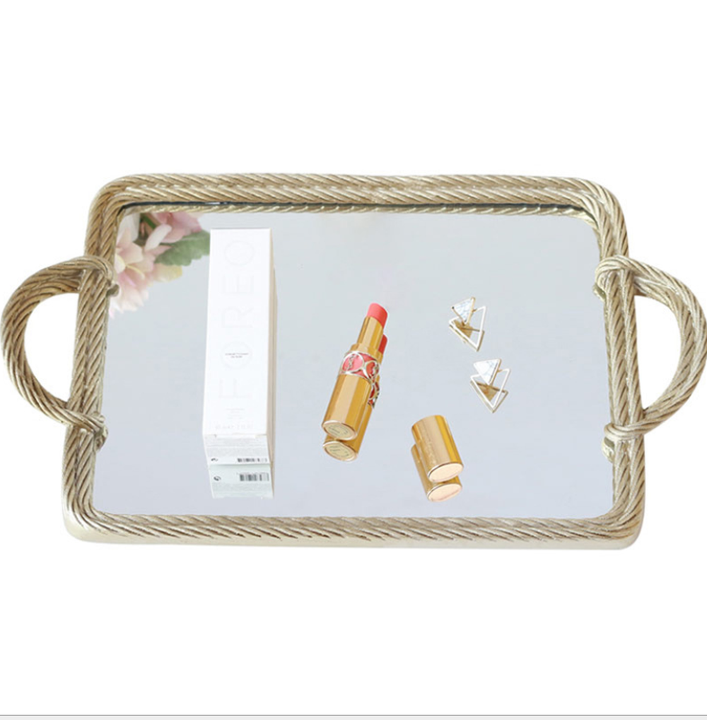 Creative Resin Mirror Tray Cosmetic Storage Tray Retro Rectangular Storage Mirror Shooting Props Serving Tray For Home in Storage Trays from Home Garden