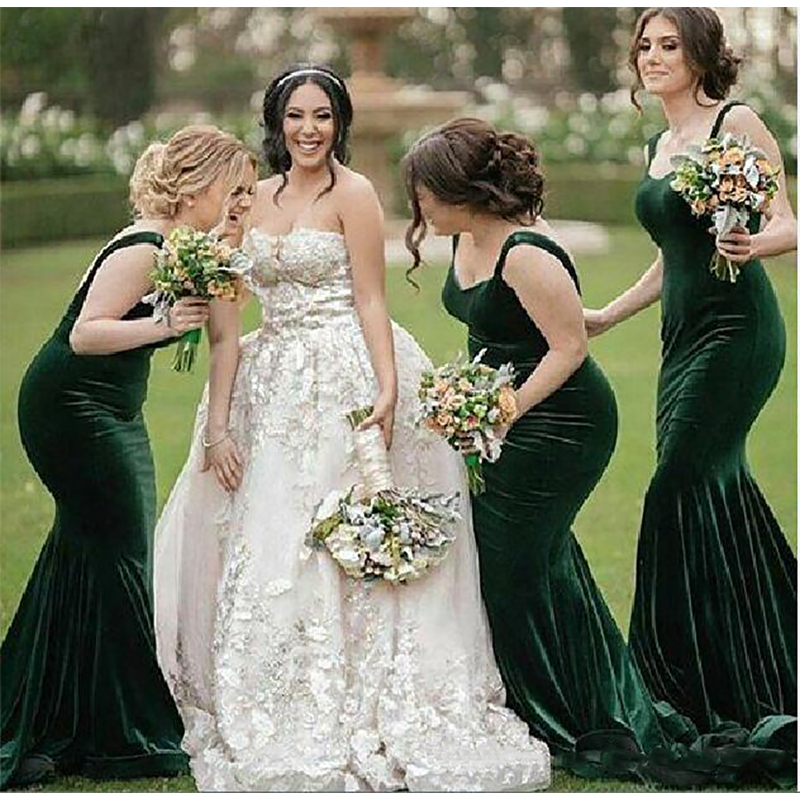 2019 New Dark Green Spaghetti Straps Velvet Mermaid Long   Bridesmaid     Dresses   Ruched Sweep Train Wedding Guest Party Evenin   Dress