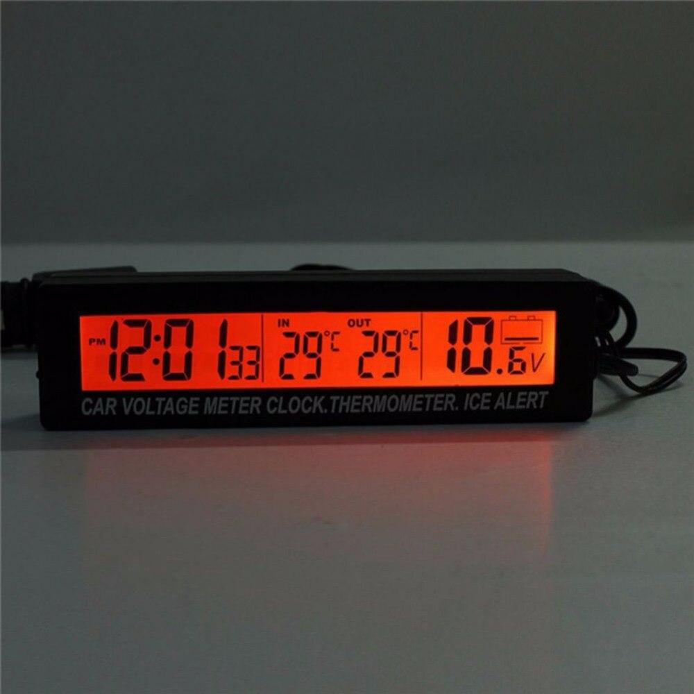 3 In1 numérique LCD horloge écran voiture Auto véhicule horloge température thermomètre tension voltmètre nouveau