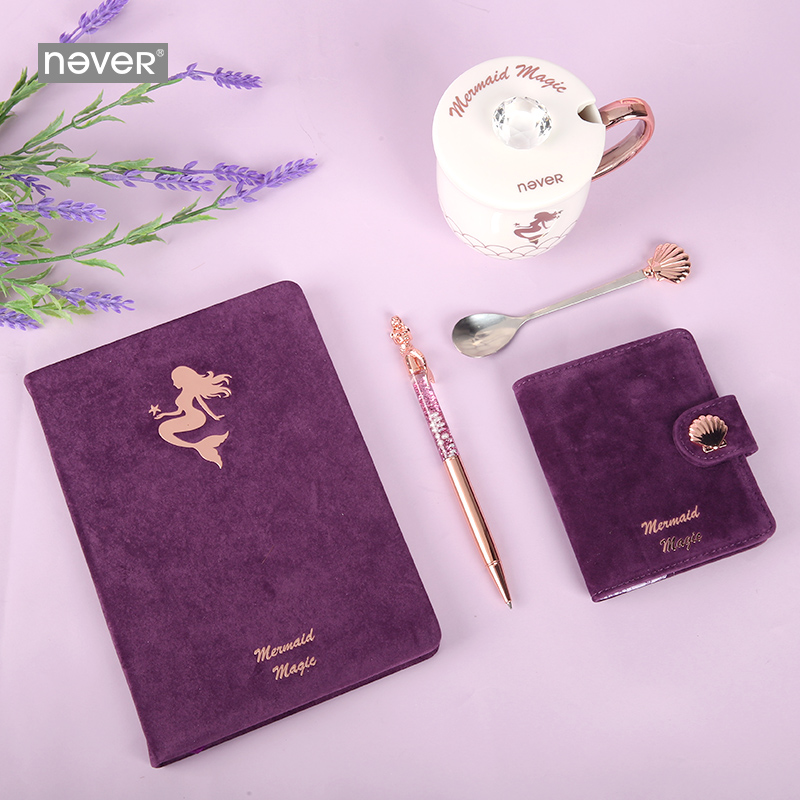 Image 3 - Never Mermaid Series Stationery Set A5 Notebook Mug Cup Metal Pen Christmas Stationery Gifts for Teachers Girls Gift Stationary-in Stationery Set from Office & School Supplies
