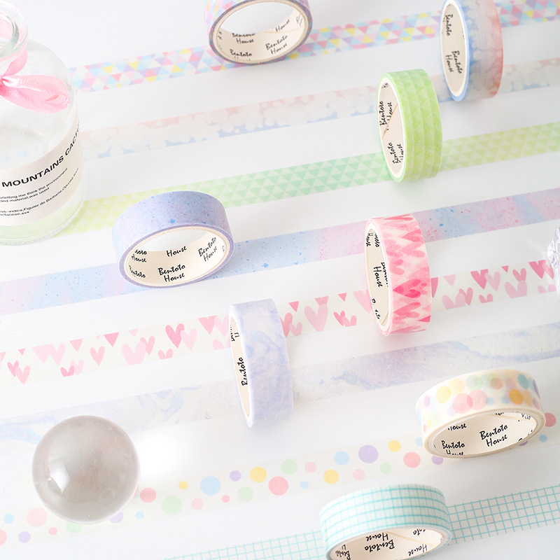 3 Pcs/pack Delicate Pearlescent Heart Rainbow Washi Tape Set Adhesive Tape DIY Scrapbooking Sticker Label Craft Masking Tape