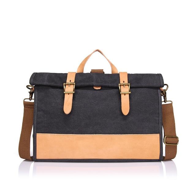 Cloth briefcase portable cross-section with leather shoulder bag man bag leisure Shoulder Messenger