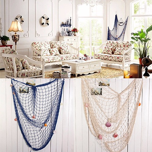 Shell Hanging Fish Net Nautical Ocean Theme Home Wall Decor Photography Props 2