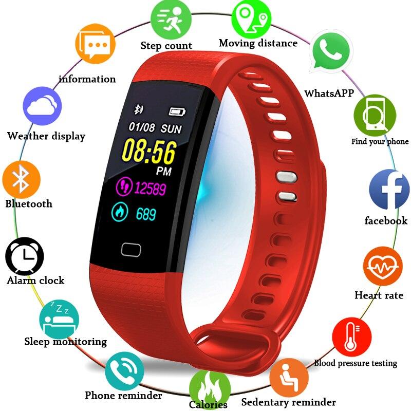 BANGWEI Étanche montre connectée Surveillance Du Sommeil Mini Dynamique de Fréquence Cardiaque Sport bracelet de remise en forme Support USB De Charge Montre