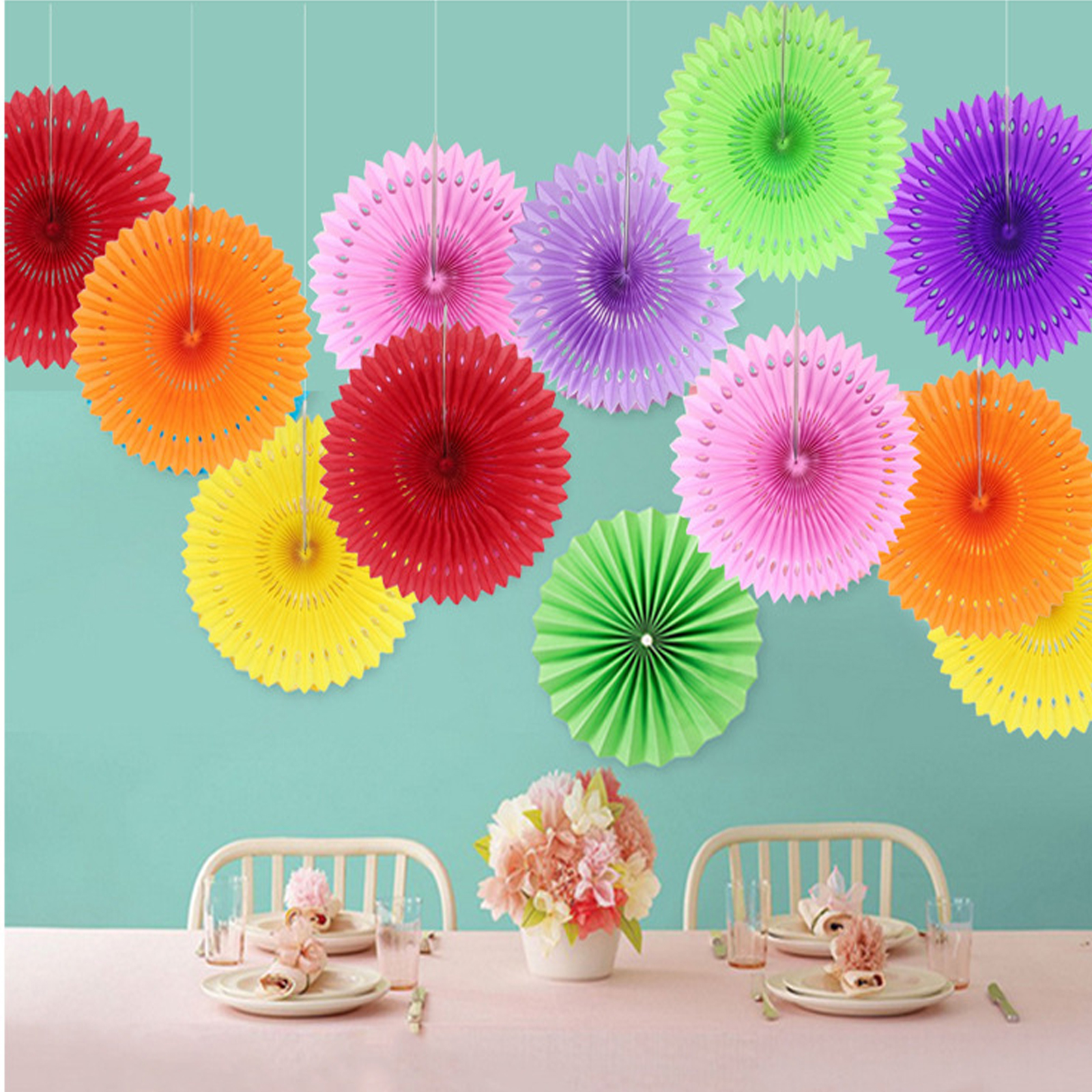 Us 0 85 11 Off 1pcs Colorful Paper Fans Birthday Party Hanging Decor Hang Swirl For Mexican Party Supplies Home Wall Baby Shower Decorations In