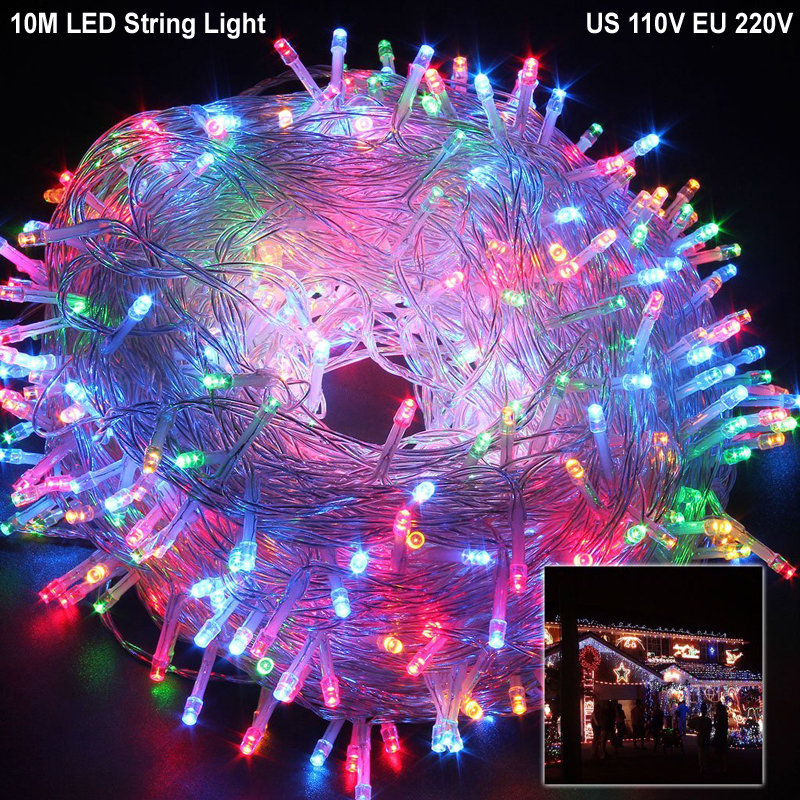 DZ30 10M Waterproof Led string light RGB color 100led led Strip AC110V 220V Christmas light Decoration Lamp for Party Wedding
