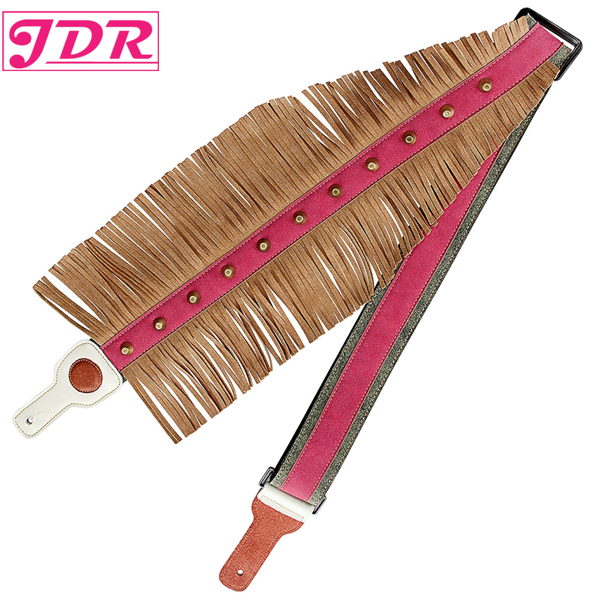 JDR Guitar Strap, 3 Wide Double Thicker Real Leather Guitar Strap for Bass & Guitar Adjustable Length from 50'' to 57'' Tassel amumu traditional weaving patterns cotton guitar strap for classical acoustic folk guitar guitar belt s113