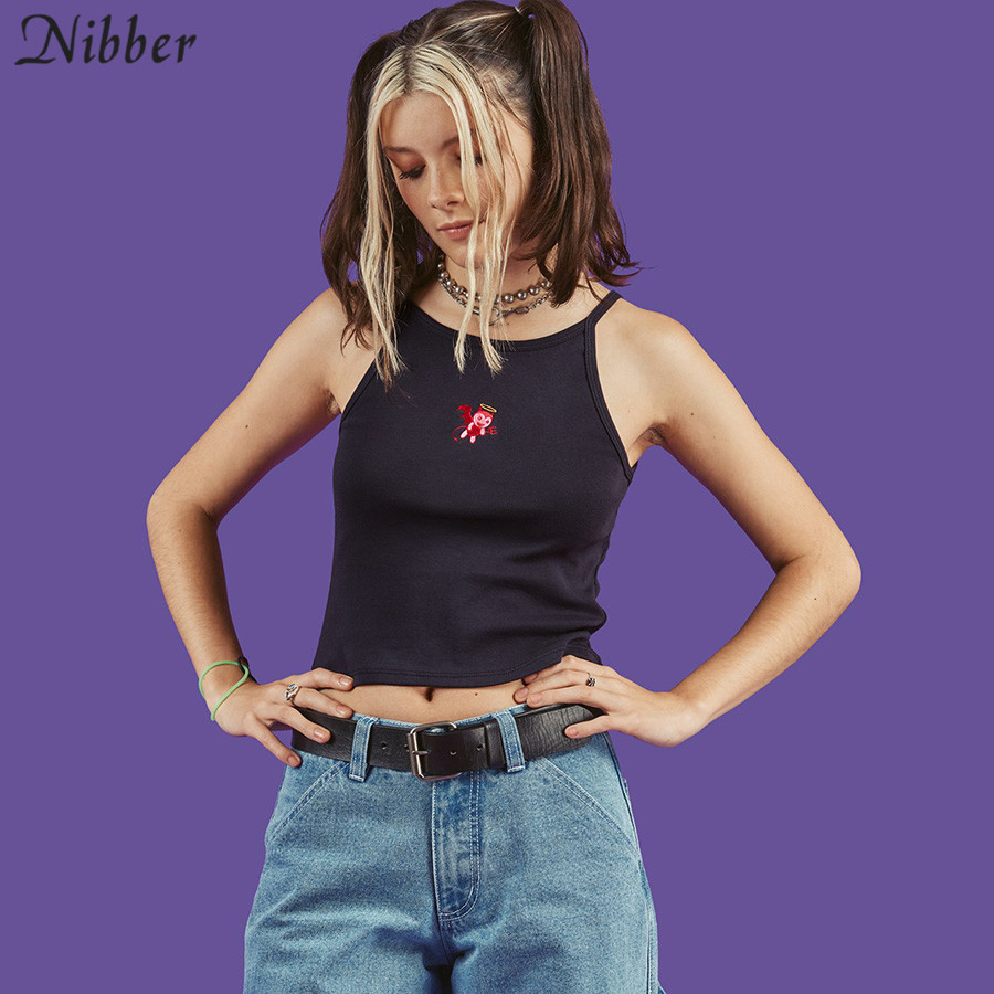 Nibber summer cotton cute embroidery crop   top   tshirt 2019new fashion black Sleeveless camis ladies Casual street Basic   Tank     Tops