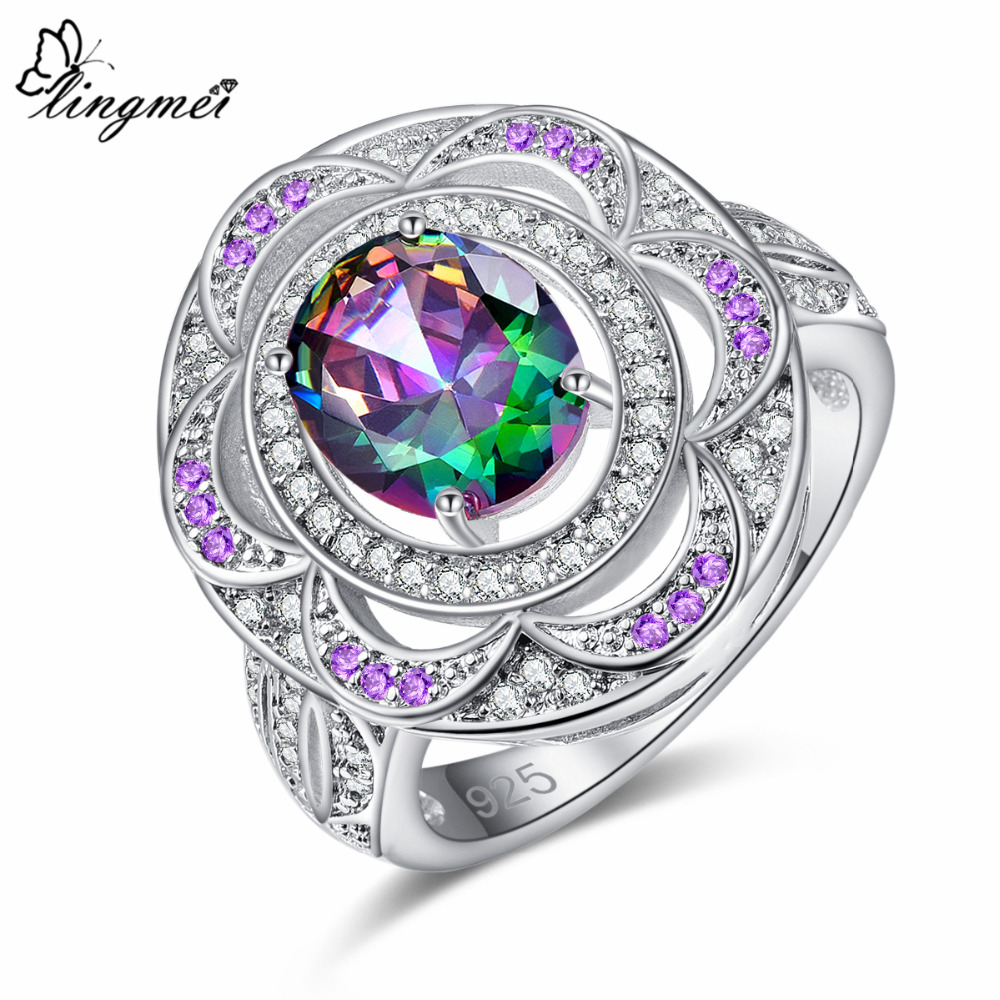 Lingmei Attractive Luxury Wedding Rings Gorgeous Cluster Zircon Silver 925 Ring for Women Size 6 7 8 9 Cocktail Birthstone Gifts in Rings from Jewelry Accessories