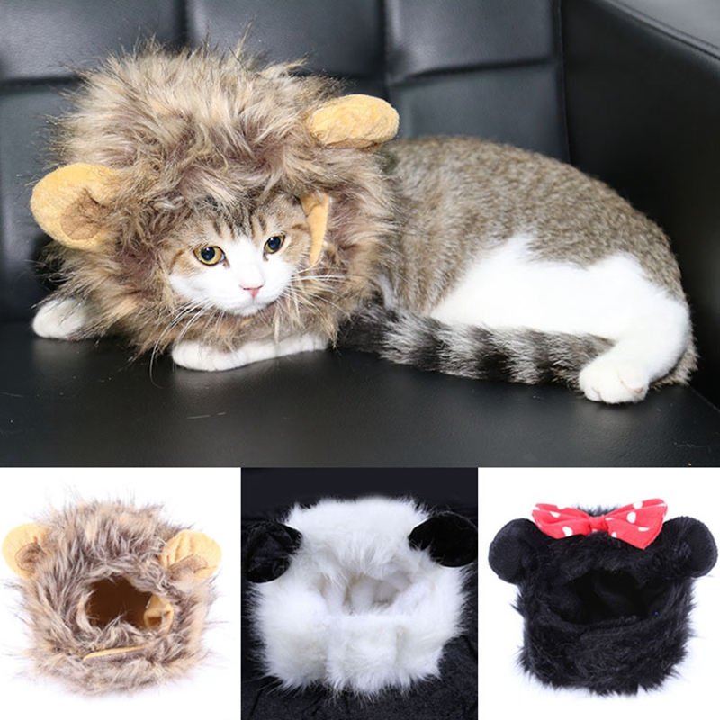 funny pet dog cat wigs halloween christmas panda mickey lion shapes wigs caps hair accessories dress - Funny Cat Halloween