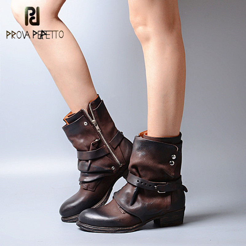 Prova Perfetto New Arrival Retro Design Pleated Genuine Leather Patchwork Woman Boots Buckle Strap Low Heel