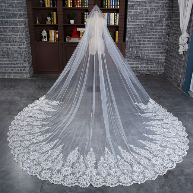 Free Shipping Long Luxury New Arrival One Layer Lace Edge White Bridal Veils With Beads Wedding Veils Bridal Accessory