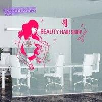 DCTAL Hair Shop Salon Sticker Beauty Decal Haircut Posters Vinyl Wall Art Decals Decor Decoration Mural Salon Sticker