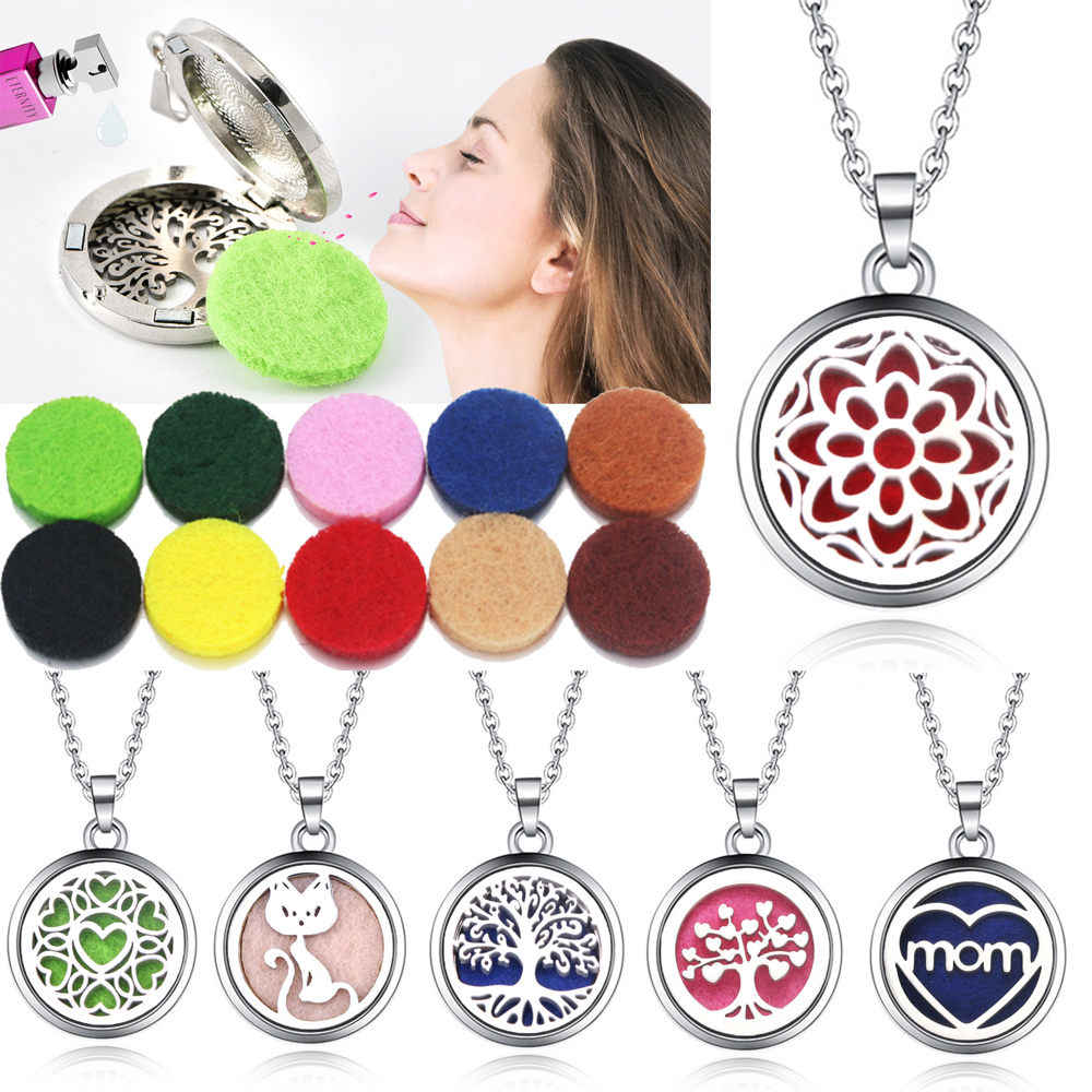 10 Buah/Banyak Aroma Liontin Kalung Stainless Steel Magnetic Aromaterapi Minyak Esensial Diffuser Parfum Liontin