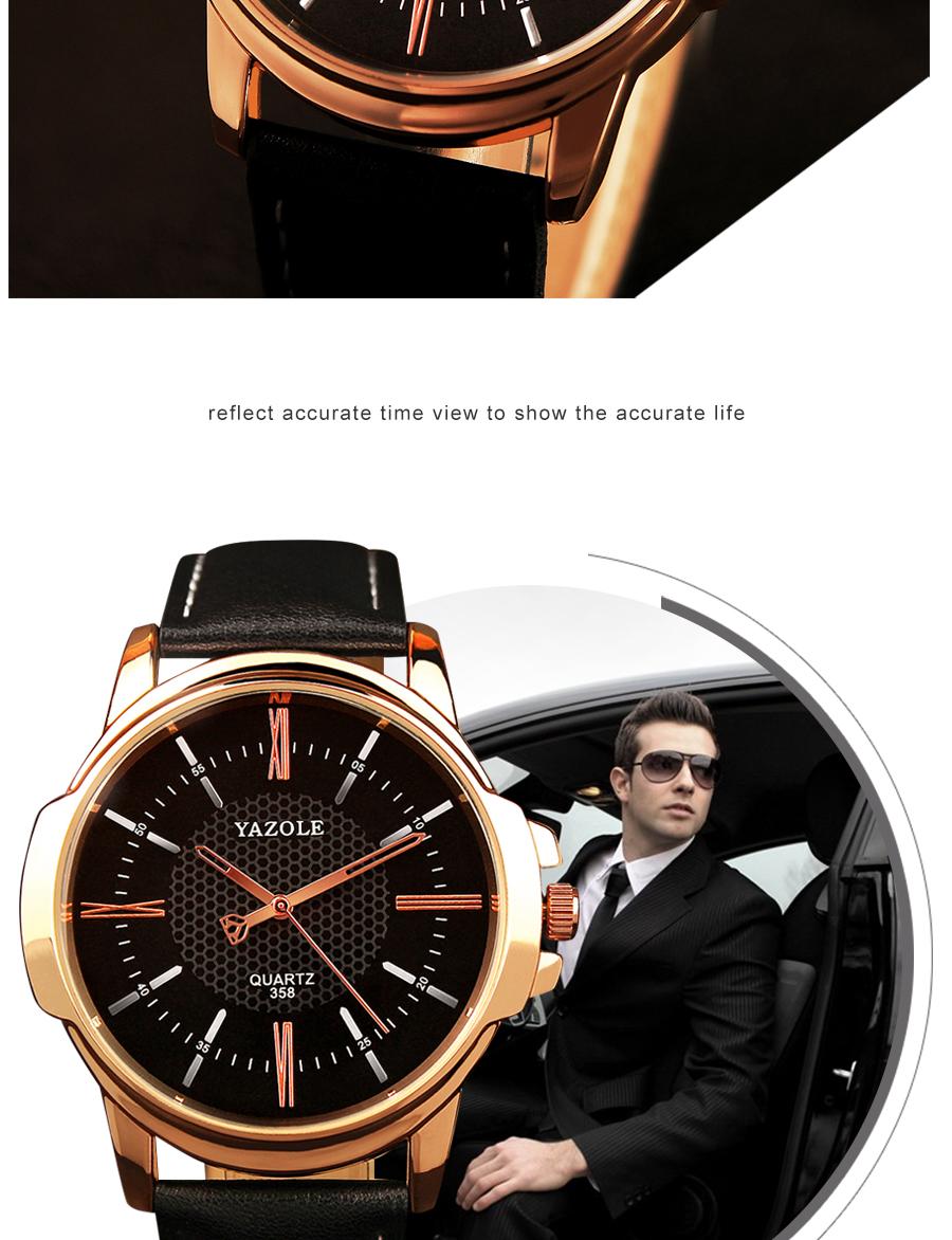 Montre à Quartz Hommes Yazole avec bracelet en cuir