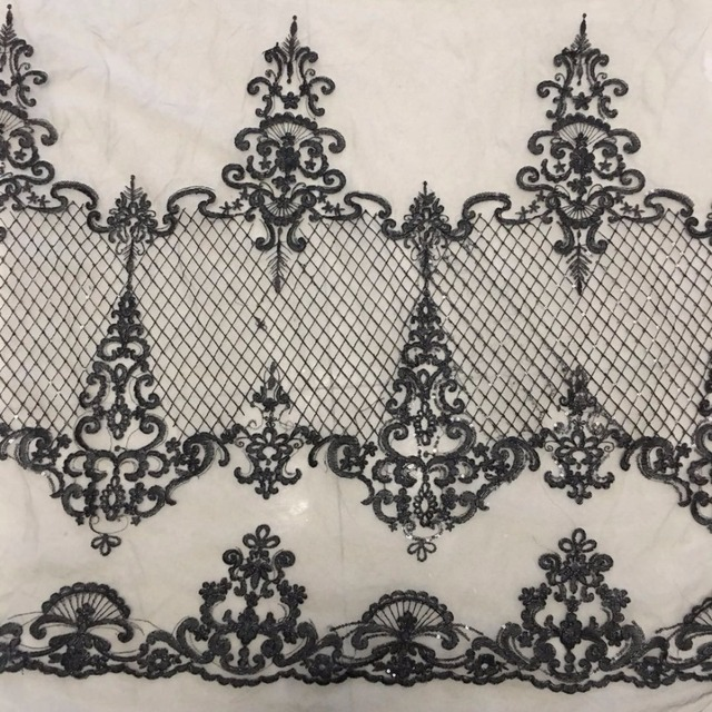 5yards off White/black/gold guipure lace fabric sparkling sequins on tulle embroidery for wedding dress Lace Fabric