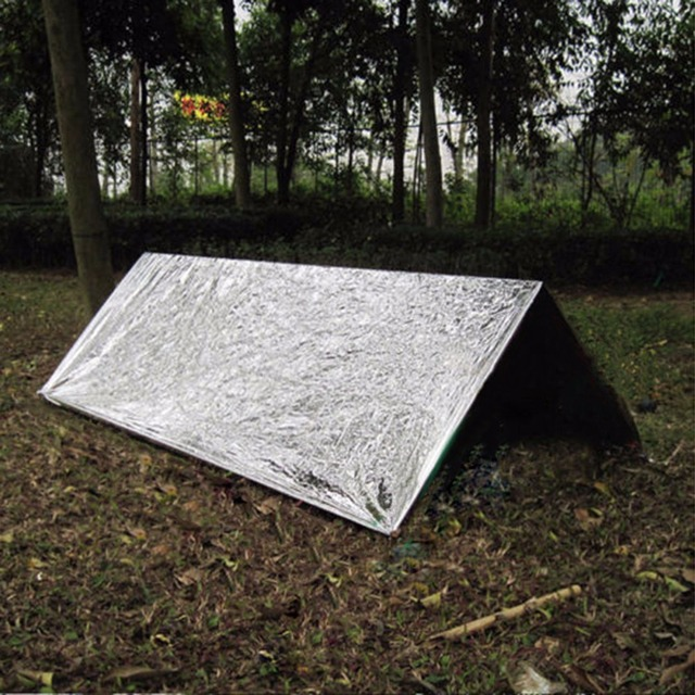 Folding 210*130CM Outdoor Camping Life-saving Military Emergency Survival Rescue Shelter Insulation Curtain Blanket Silver Color