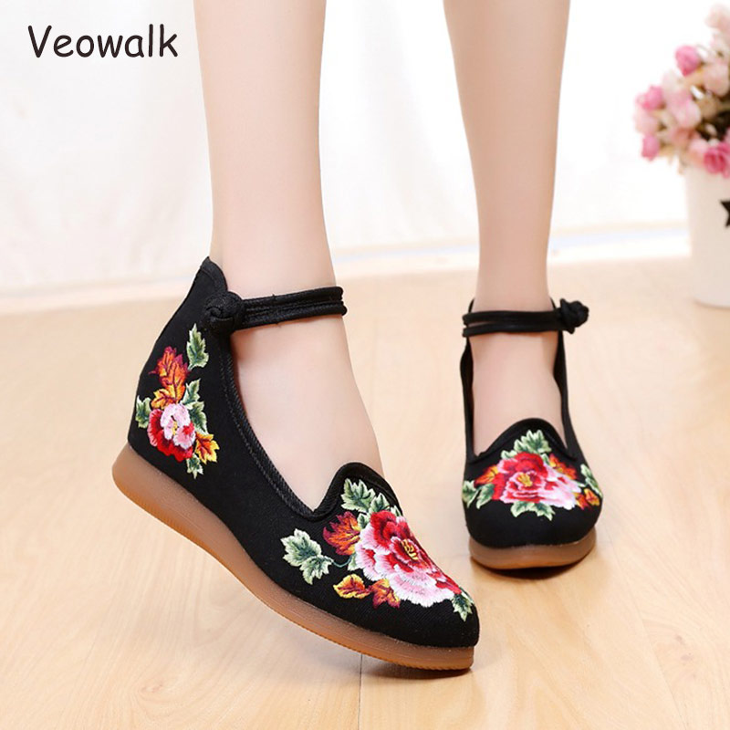 Veowalk High Top Ankle Strap Women Canvas Hidden Flat platforms Floral Embroidered Retro Ladies Casual Denim Thick Bottom Shoes sweet women s floral embroidered cold shoulder crop top