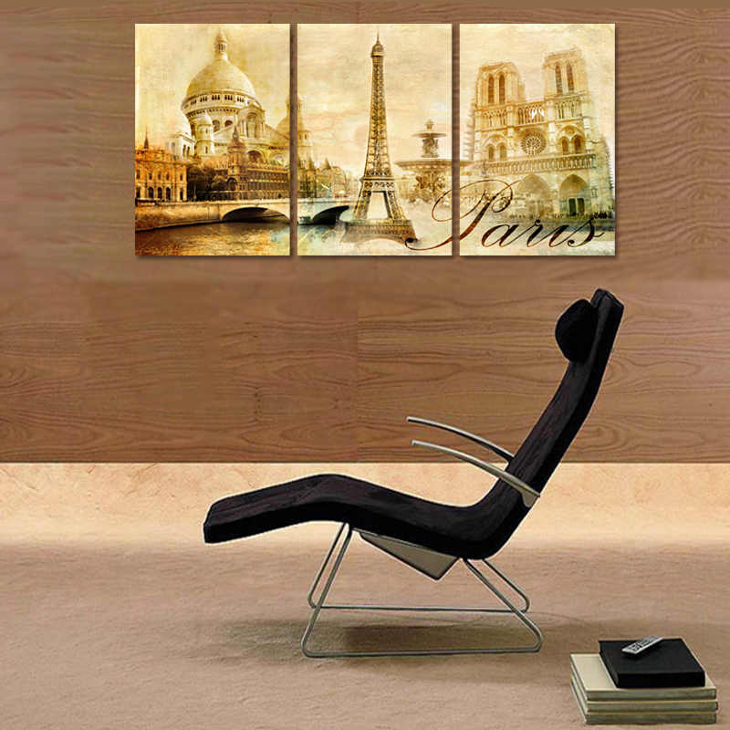 3 Pieces/set European city architecture Art Canvas Poster Painting Watercolor Picture Print for Modern Home Living Room Decor