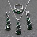 925 Sterling Silver Criado Verde Esmeralda Conjuntos de Jóias Longa Queda Brincos/Pingente/Colar/Anel Para Mulheres Livres presente TZ58
