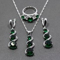 925 Sterling Silver Green Created Emerald Jewelry Sets Long Drop Earrings/Pendant/Necklace/Ring For Women Free Gift TZ58
