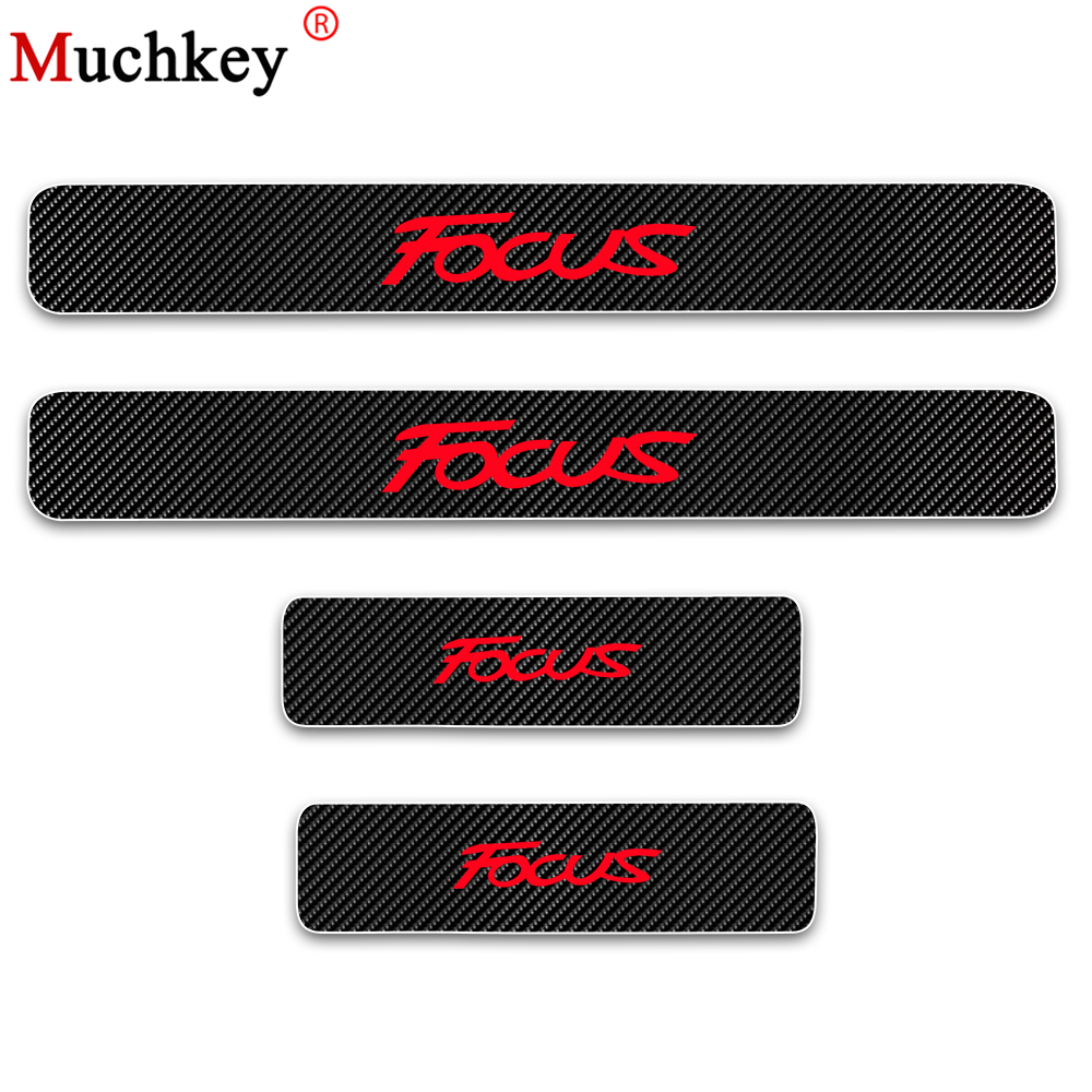4D Carbon Fiber Vinyl Sticker Door Sill Protector For Ford FOCUS Car Door Sill Welcome Pedal Stickers Auto Car Accessories 4Pcs