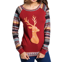 OHRYIYIE Autumn Winter Harajuku Long Sleeve T Shirt Women Christmas Deer Letter Printed T Shirt Female