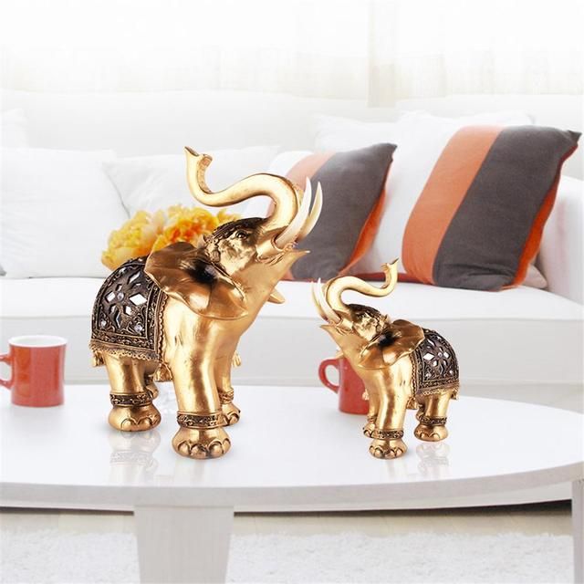 Wealth Lucky Golden Elephant Table Ornaments Living Room Tv Cabinet Study Fengshui Home Decor Car Accessories Display Nice Gift