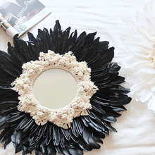 Handmade tapestry feather glass wall mirror