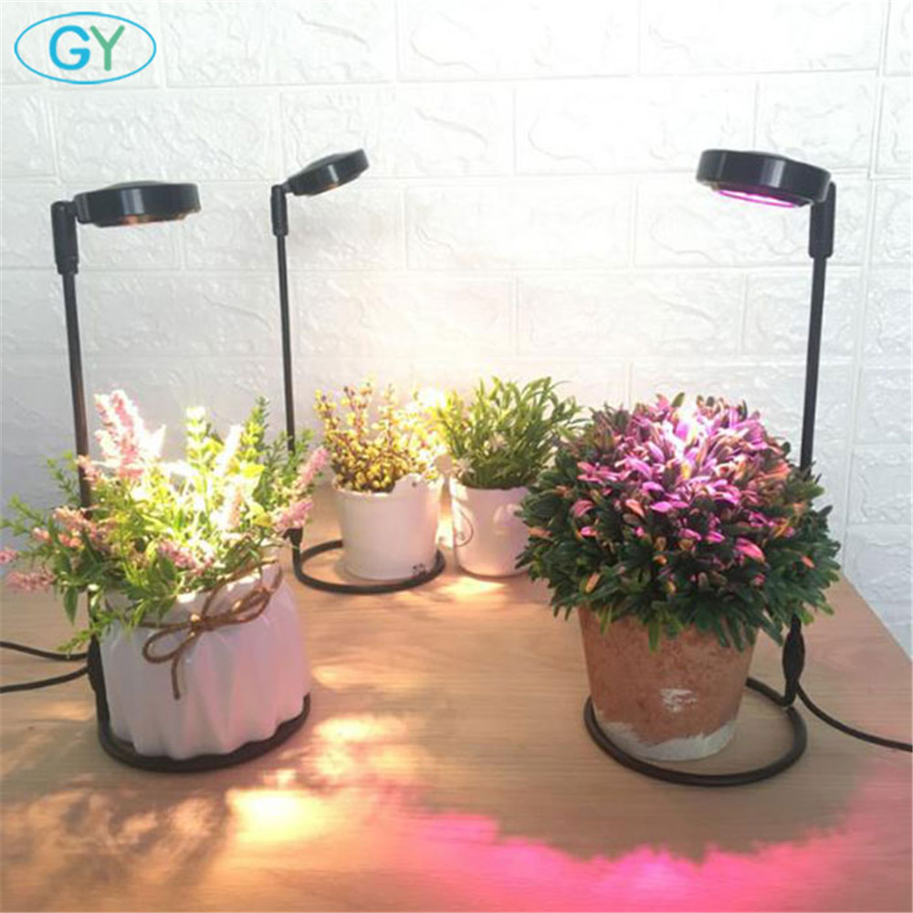 LED Growing Lamps 5V USB Or 220V Plug Adapter Desktop Indoor Plants Growing Lights With Ring Base LED Grow Light For Aquarium