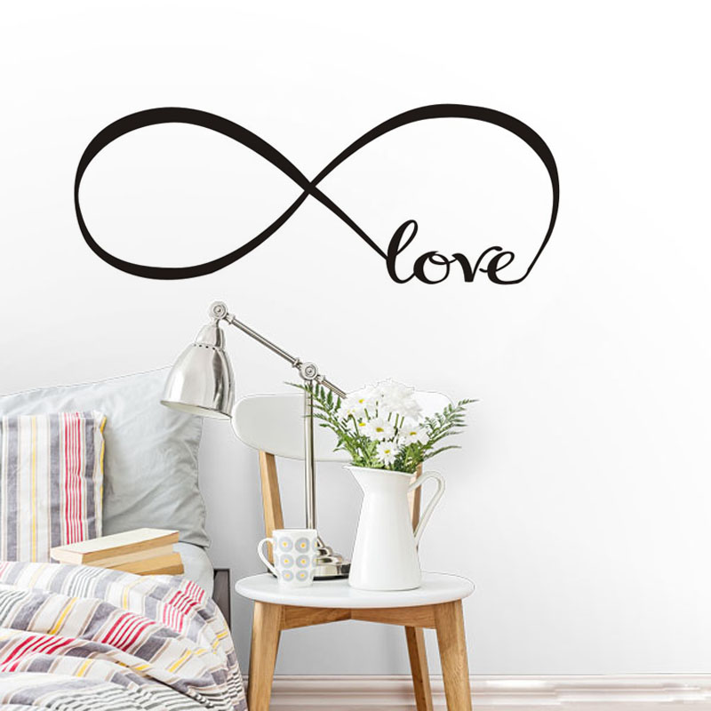 Infinity Symbol Word Love Black Vinyl Wall Sticker For Living Room