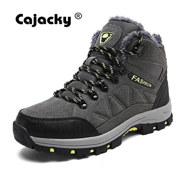 Cajacky אופנה גברים קרסול מגפיים עם פרווה עמיד למים שלג מגפי גברים חורף סתיו חם אתחול נעלי יוניסקס קטיפה גבוהה למעלה נעליים חדש