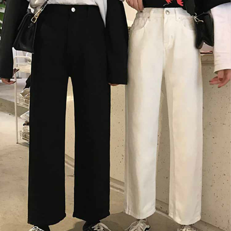 Mazefeng 2019 Spring Autumn Women Casual Jeans Ladies Ankle-Length Pants Female Solid Jeans Women Straight Pants Preppy Style