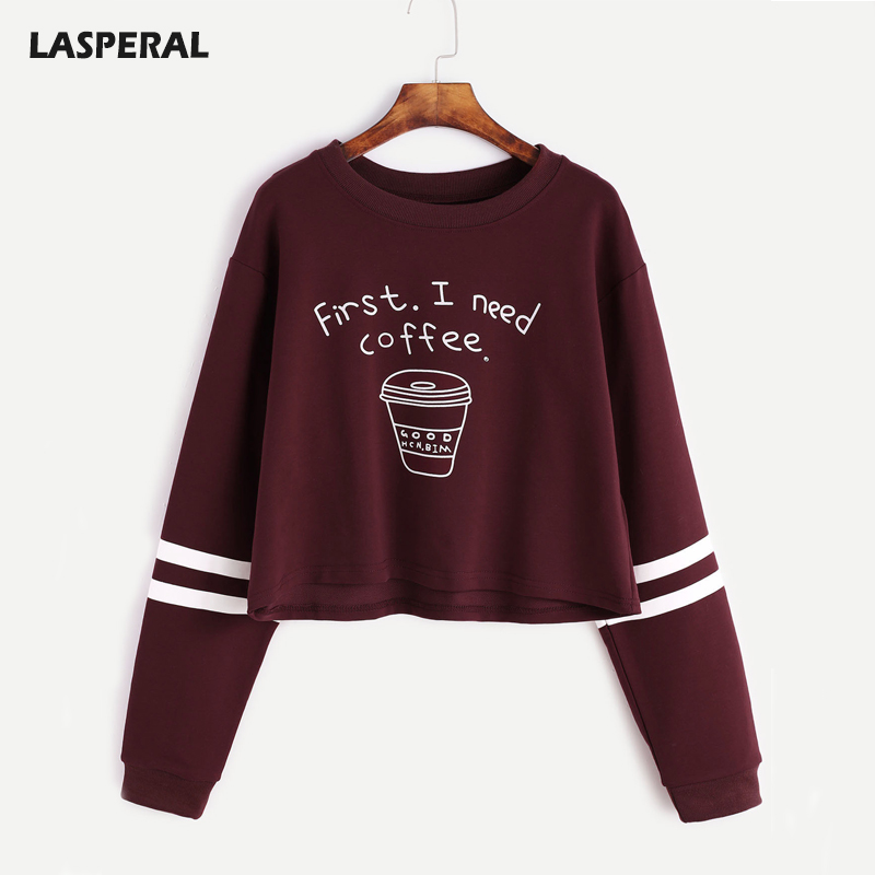 LASPERAL Letter Print First I Need Coffee Hoodies Women 2018 Autumn Fashion Long Sleeve Casual Cropped Sweatshirt Pullover Tops