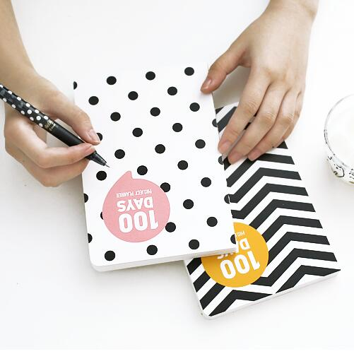 Graph World 100 Days Project Planner Study Agenda Notebook Daily Scheduler Grid Papers Pocket Journal cute colorful floral design portable daily 2018 planner lovely doll girl scheduler 256p 11 8 15 4 2 3cm agenda gift