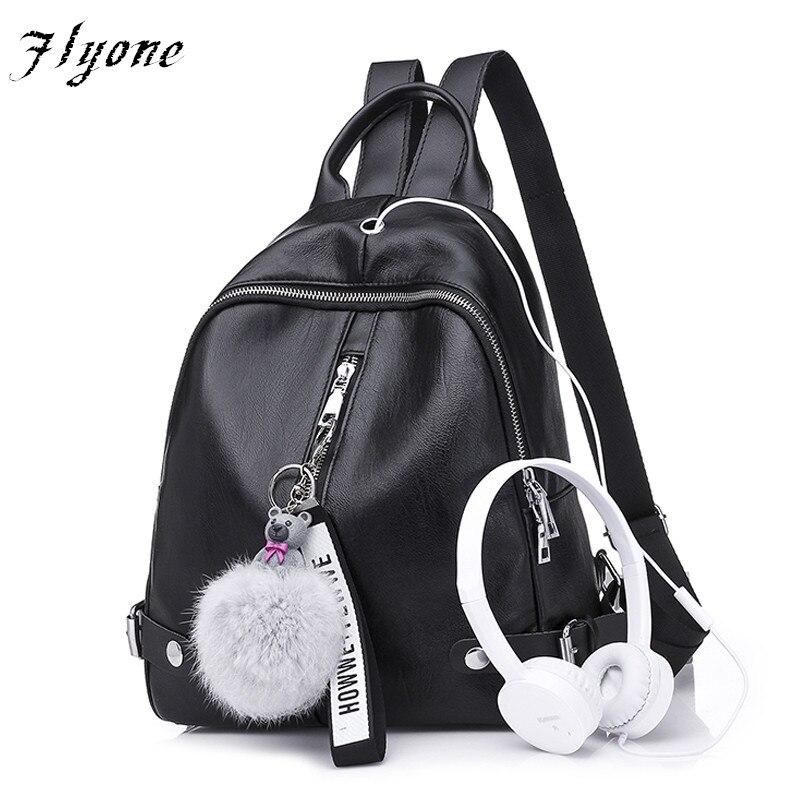 Flyone High quality Earphone jack Women Backpack Black PU Leather Backpack Schoolbag The Hair Ball Ornaments women bag mochila