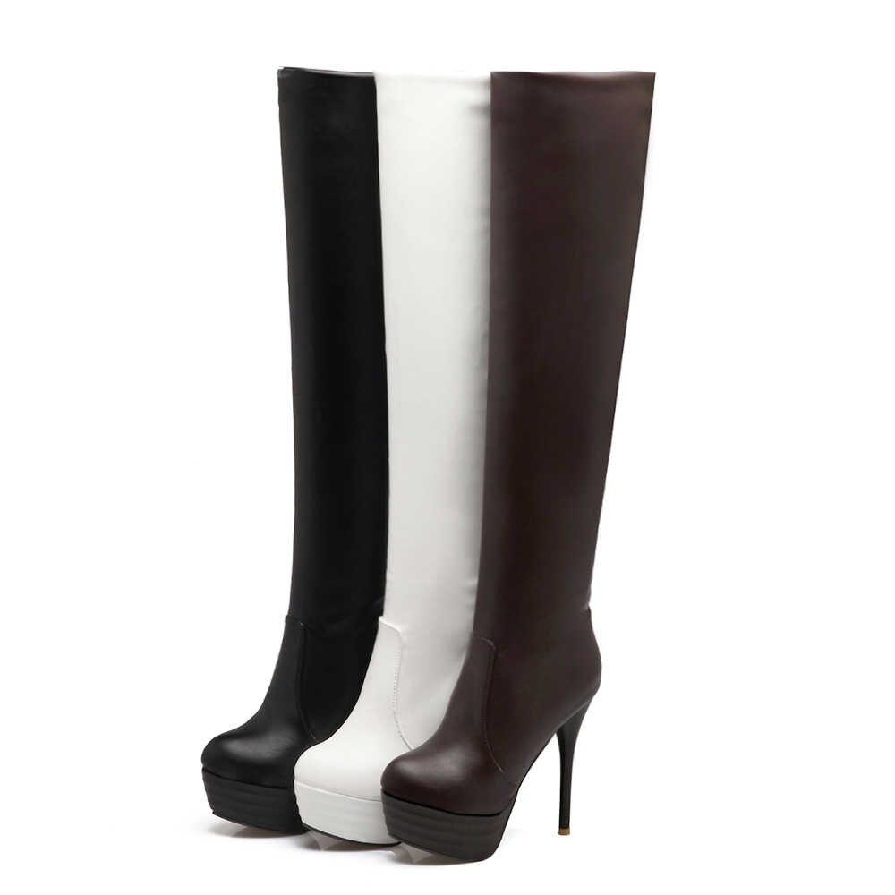 2020 Yeni Uyluk Yüksek Çizmeler Kadın Büyük Boy 34-46 Sonbahar Kış platform ayakkabılar Yuvarlak Ayak 13cm Ince Yüksek topuklu Over Diz Çizmeler