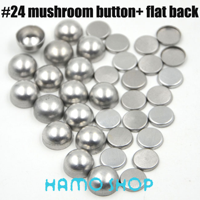Free Shipping 200 Sets/lot #24 Mushoroom Shape 1.4cm/14mm Round Fabric Covered Cloth Button Cover Metal Flat Back