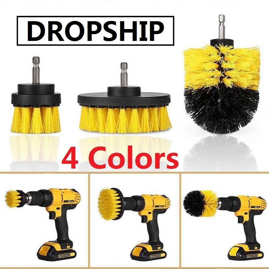 3pcs/set Electric Drill Brush Kit Tile Grout Scrubber Cleaning Drill Nylon Brushes Tub Cleaner Kit Wood Grinding Polishing Tool