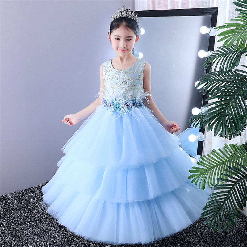 Summer New Children Girls Elegant Blue Color Birthday Wedding Party Cake-layers Mesh Dress Baby Teens Piano Host Costume Dress new high quality children girls blue princess lace party dress wedding birthday dress with layers mesh tail kids costume dress