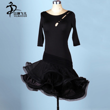 Adult Girl hollow Latin Dance Dress Salsa rope sexy Tango Ballroom Group Dance costume for femme half sleeve black dresses