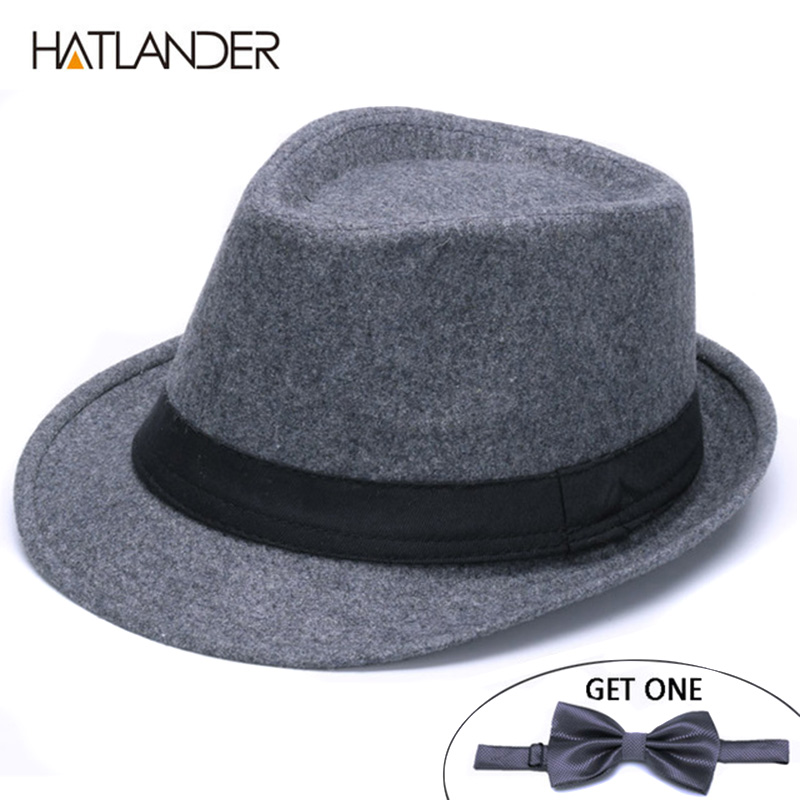 HATLANDER Classic solid Men's Dad fedora hats for Gentleman woolen Jazz church cap women fedoras winter felt billycock top hat image