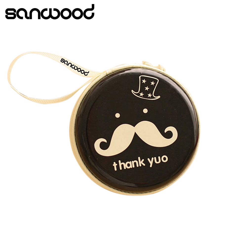 Round Mustache Coin Purse Earphone Key Case Zip Storage Bag Pouch Mini Wallet 92DJ